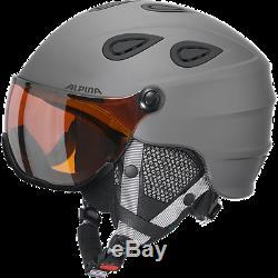 Alpina Skihelm Grap visor HM grau matt, 2 Größen Visierhelm