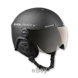 BLACK CREVICE Ski-& Snowboardhelm mit Visier Modell GSTAAD Black Carbon