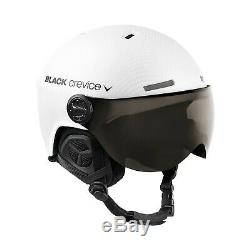 BLACK CREVICE Ski-& Snowboardhelm mit Visier Modell GSTAAD White Carbon