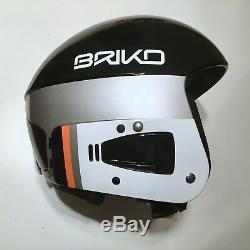 BRIKO VULCANO Race Helmet FIS 6.8 Black-Silver-White Size 60cm for Ski Snowboard