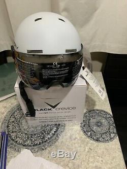 Black Crevice Gstaad Unisex Adult Ski Helmet with Visor, White, SizeS (51-54)