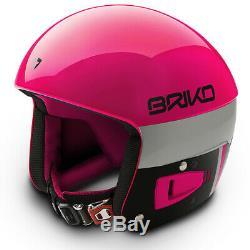 Briko Vulcano FIS Ski Race Helmet Pink Black, Medium (56cm)
