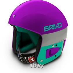 Briko Vulcano FIS Ski Race Helmet Purple Teal, Large (58cm)