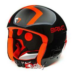 Briko Vulcano FLUID FIS Ski Racing Helmet Black/Orange, Small (54cm)