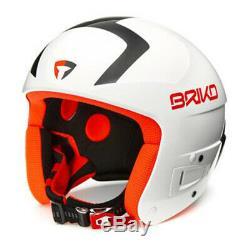 Briko Vulcano FLUID FIS Ski Racing Helmet White/Black/Orange, Medium (56cm)