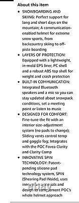 POC Obex Spin Communication Uranium Black Ski Helmet Adult M L 55-58cm NEW