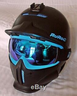 RUROC RG1-X Black Ice Snowboarding/Ski Helmet with Goggles/Mask/Visor FREE P&P