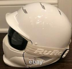 Ruroc RG1-DX Ski Snowboard Helmet White Adult S/YLG GoPro Mount-Great Condition