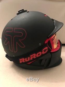 Ruroc Rg-1x Black Inferno Ski / Snowboard Helmet M/l(57-61) + 5 Lenses New
