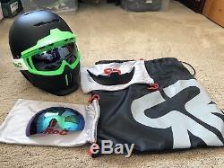 Ruroc Skiing Snowboard helmet & Ski goggles Black Green