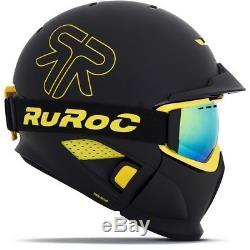 Ski Helm Ruroc RG1-DX Hazard Schwarz Gelb Matt #0646