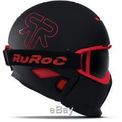 Ski Helm Ruroc Skihelm RG-1 II Inferno Schwarz Rot #3289 Ski Helm