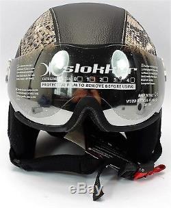 Slokker Dinho Skihelm mit Visier Leder-Look Schutzhelm Ski Snowboard Helm Gr M