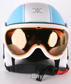 Slokker Skihelm Dinho White/Blue 61 cm XL 07843-2 Snowboardhelm mit Visier