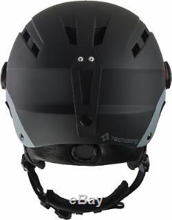 TecnoPro Erwachsenen Ski-Helm Skihelm mit Visier TITAN Photochromic schwarz