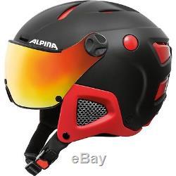 Alpina Erwachsene Skihelm Alpinhomme Attelas Visor Quattrovarioflex Schwarz Rot