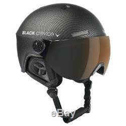 Black Crevice Ski- & Snowboardhelm Mit Visier Gstaad Carbon Black / Orange