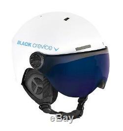 Black Crevice Ski- & Snowboardhelm Mit Visier Modell Gstaad Blanc / Bleu
