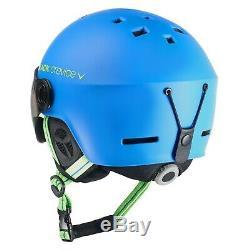 Black Crevice Ski- & Snowboardhelm Mit Visier Modell Gstaad Bleu / Lime