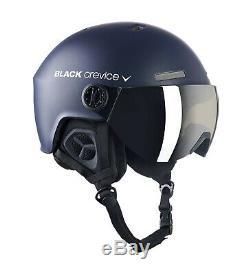 Black Crevice Ski- & Snowboardhelm Mit Visier Modell Gstaad Marine / Blanc