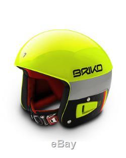 Casque Briko Vulcano Fis Ski Racing Orange Jaune Fluo, 58cm