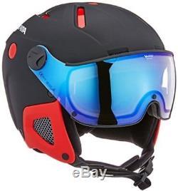 Casque De Ski Alpina Attelas Visor Vhm, Unisexe, Attelas Visor Vhm, Noir-rouge Matt