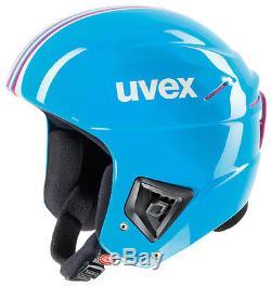 Nouveau Uvex Race + Plus Ski Snowboard Racing Casque Cyan / Rose 58-59 CM Fis Approuvé
