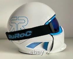 Rouroc Rg1-x Hommes Casque Plein Visage + Lunettes Ski Snowboard Blanche Neige M/l Rrp£230