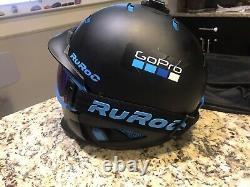 Ruroc Rg-1 DX Casque. Black Ice / Bleu. Utilisé. Sz S (54-57). Avec Gopro Mont