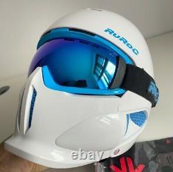Ruroc Rg1-x Mens Full Face Helmet + Lunettes Ski Snowboard Blanche-neige M/l Rrp£230