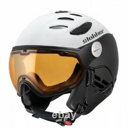 Slokker Balo Blanc Visière Noire Visier Skihelm Snowboardhelm Herren Helm J19