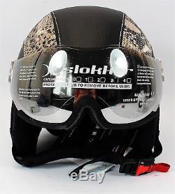 Slokker Dinho Skihelm Avec Visier Leder-look Schutzhelm Ski Snowboard Helm Gr M