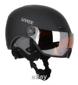 Uvex 400 Visor Style Casque De Ski Taille 53 58cm Cat 2 Tous Lentille Rond Noir